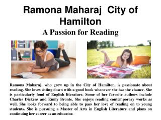 Ramona Maharaj  City of Hamilton - A Passion for Reading