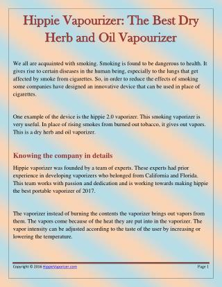 The Hippie as the Perfect Oil and Dry Herb Vaporizer