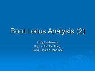 Root Locus Analysis 2