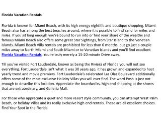 Beach Vacation Rental Florida