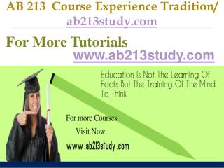AB 213  Course Experience Tradition / ab213study.com