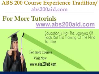 ABS 200 Course Experience Tradition / abs200aid.com