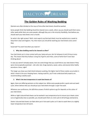 The Golden Rules of Washing Bedding