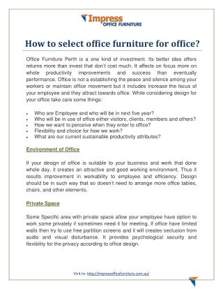 How to select office furniture for office?