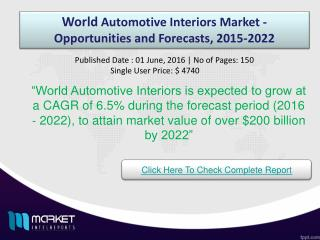 World Automotive Interiors Market Trends & Opportunities 2022