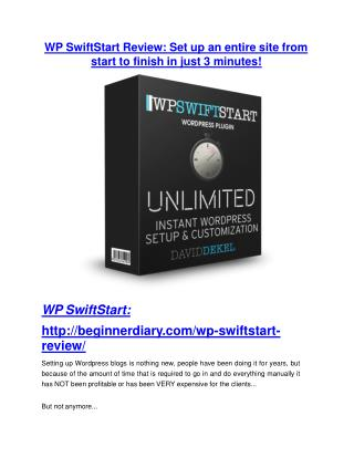 WP SwiftStart review and (MEGA) bonuses – WP SwiftStart