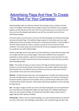 Advertising Flags And How To Create The Best For Your Campaign