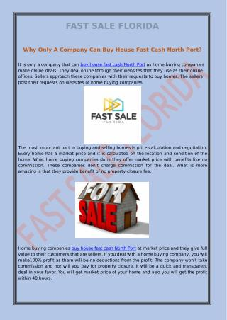 Why Only A Company Can Buy House Fast Cash North Port?