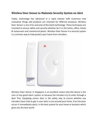 Wireless Door Sensor to Maintain Security System on Alert
