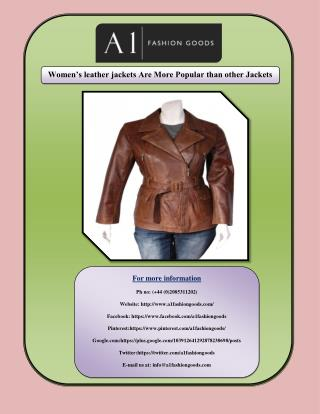 Women's leather jackets Are More Popular than other Jackets