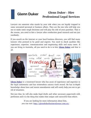 Glenn Duker - Hire Professional Legal Services