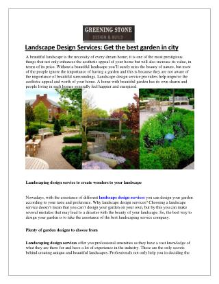 Landscape Design Services By Greening Stone