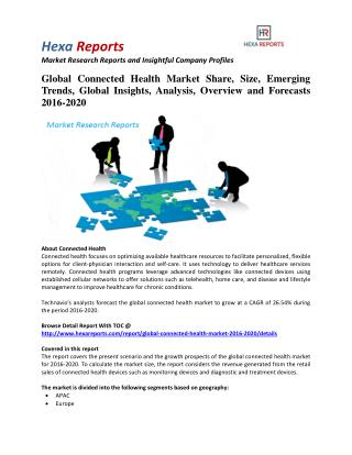 Global Connected Health Market Share, Industry Growth and Outlook 2016-2020: Hexa Reports