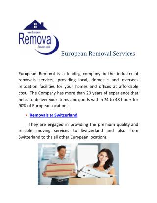 Removals to Switzerland-Hire experts at European Removal Services