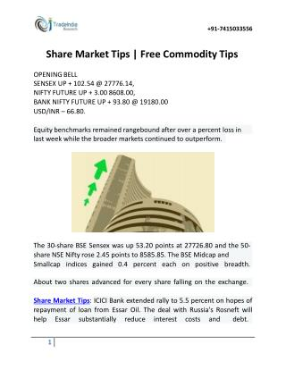 Share Market Tips and Free Commodity Tips