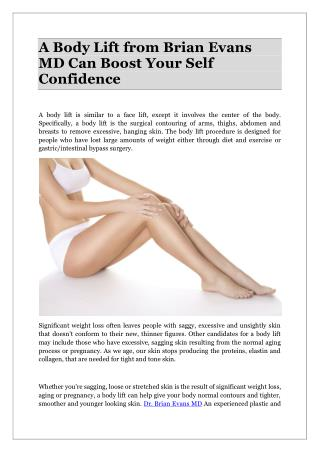 A Body Lift from Brian Evans MD Can Boost Your Self Confidence