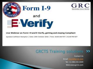 Live Webinar On Form I-9 and E-Verify, getting and staying compliant