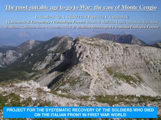 PROJECT FOR THE SYSTEMATIC RECOVERY OF THE SOLDIERS WHO DIED ON THE ITALIAN FRONT IN FIRST WAR WORLD