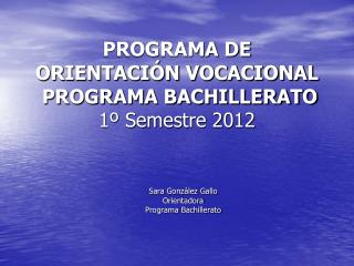 PROGRAMA DE ORIENTACI N VOCACIONAL   PROGRAMA BACHILLERATO 1  Semestre 2012