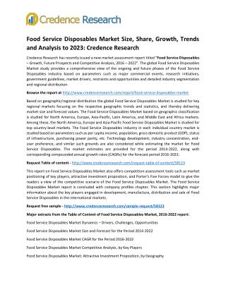 Food Service Disposables Market Size, Share, Growth, Trends and Analysis to 2023: Credence Research