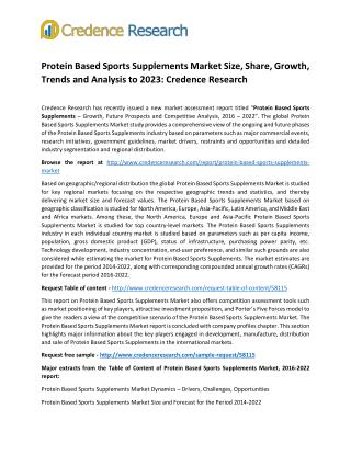 Protein Based Sports Supplements Market Size, Share, Growth, Trends and Analysis to 2023: Credence Research