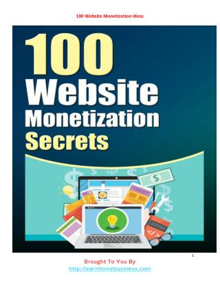 100 Website Monetization Ideas For Sure Profits? PDF - Free
