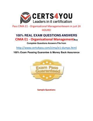 Cima E1 Exam Questions