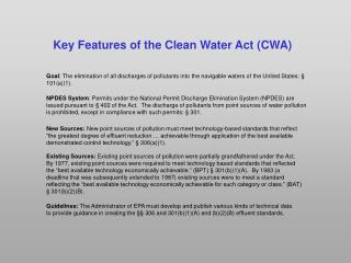 Key Features of the Clean Water Act CWA