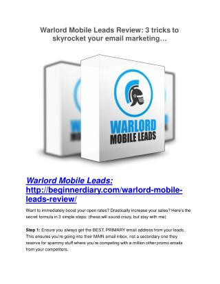 Warlord Mobile Leads review-(MEGA) $23,500 bonus of Warlord Mobile Leads