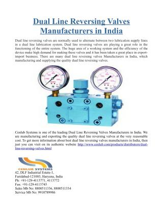 Dual Line Reversing Valves Manufacturers in India
