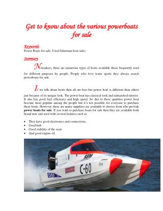 Get to know about the various powerboats for sale