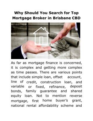 Why Should You Search for Top Mortgage Broker in Brisbane CBD