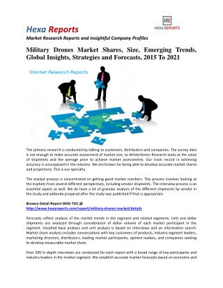 Military Drones Market Shares, Industry Growth and Oberview, 2015 To 2021: Hexa Reports