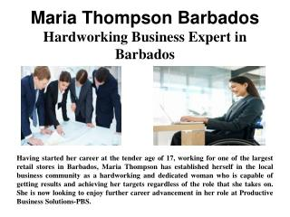 Maria Thompson Barbados - Hardworking Business Expert in Barbados