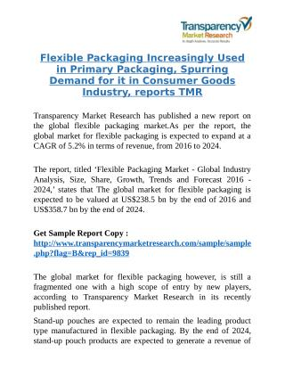 Flexible Packaging Increasingly Used in Primary Packaging, Spurring Demand for it in Consumer Goods Industry