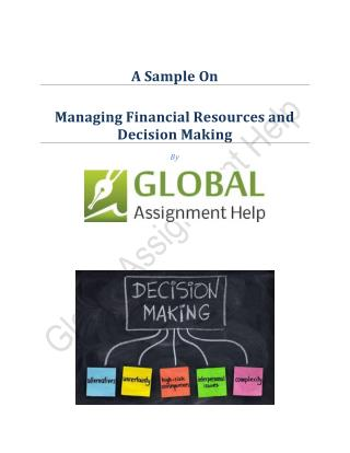 Sample ON Managing Financial Resources and Decision Making