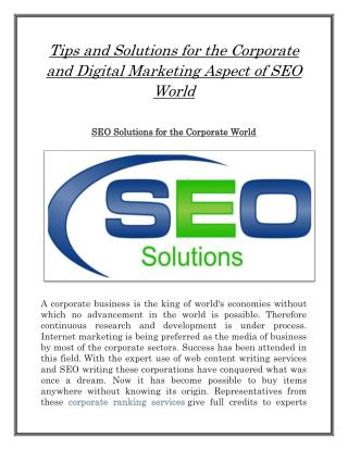 Tips and solutions for the corporate and digital marketing aspect of seo world