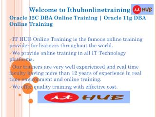 Oracle 12c DBA Online Training | Oracle 11g DBA online Tutorial