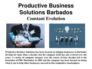 Productive Business Solutions Barbados - Constant Evolution