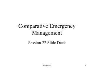 Comparative Emergency Management