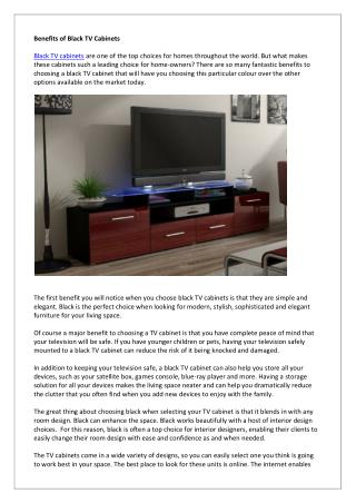 Benefits of Black TV Cabinets