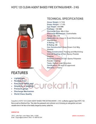 Ceasefire HCFC 123 Based Clean Agent Extinguishers - 2 Kg Features & Specifications