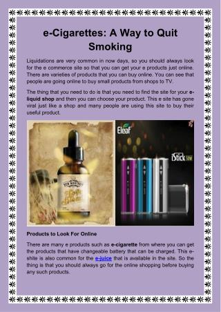 e-Cigarettes A Way to Quit Smoking