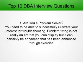 Top 10 DBA Interview Questions
