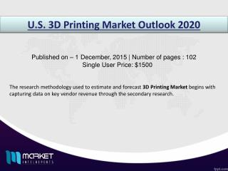 U.S. 3D Printing Market to Grow at a CAGR of 29% over the period 2015-2020 Market, Market analysis, Market forecast, Mar