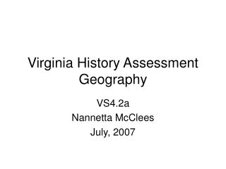 Virginia History Assessment Geography