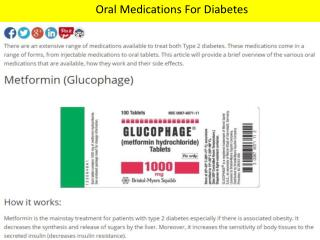 Oral Medications For Diabetes