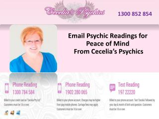 Email Psychic Readings for Peace of MindFrom Cecelia's Psychics