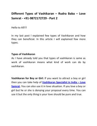 Different Types of Vashikaran � Rudra Baba � Love Samrat -  91-9872172729 - Part 2