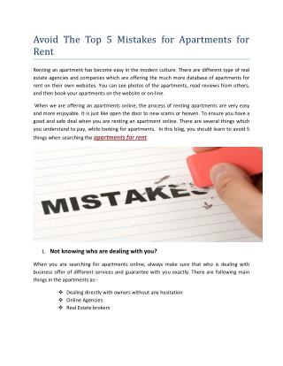 Avoid the Top 5 Mistakes for Apartments for Rent